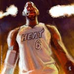 Caricatura NBA de LeBron James por David Duque