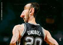 Caricatura NBA de Manu Gin�bili por David Duque