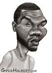 Caricatura NBA de Al Jefferson por Greg Halbert