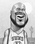 Caricatura NBA de Shaquille O'Neal por Greg Halbert