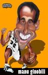 Caricatura NBA de Manu Gin�bili por Ignacio Fundarena