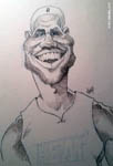 Caricatura NBA de LeBron James por Josep Solé