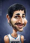 Caricatura NBA de Ricky Rubio por Josep Sol�
