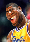 Caricatura NBA de Magic Johnson por Marcos Torres