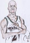 Caricatura NBA de Kevin Garnett por Pau Martorell