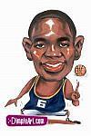 Caricatura NBA de Dikembe Mutombo por DimpleArt