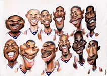 Caricatura NBA de Shareef Abdur-Rahim por Jota Leal