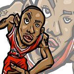 Caricatura NBA de Derrick Rose por Makoto
