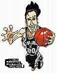 Caricatura NBA de Manu Gin�bili por Makoto