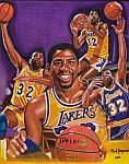 Caricatura NBA de Magic Johnson por Mark Jorgenson
