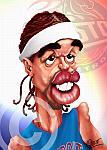 Caricatura NBA de Richard Hamilton por Omar Pérez