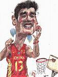 Caricatura NBA de Yao Ming por Roy