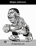 Caricatura NBA de Magic Johnson por Silvermeow