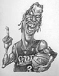 Caricatura NBA de Allen Iverson por Vizcarra