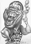 Caricatura NBA de Magic Johnson por Vizcarra
