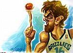 Caricatura NBA de Pau Gasol por Vizcarra